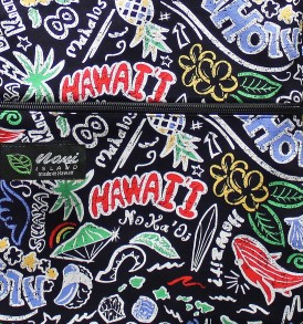 Tote Bag Zipper L – Hawaiian Fun Black