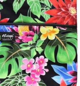 Tote Bag Zipper L – Hawaiian Garden Black