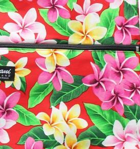 Tote Bag Zipper L – Tropical Plumeria Red